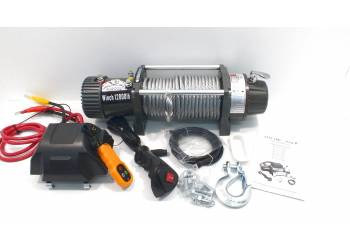 Лебедка электрическая 12V Electric Winch GRIZZLY 12000lbs / 5443 кг (блок механизм IP66) со стальным тросом, съемный блок управления