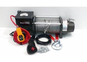 Лебедка электрическая 12V Electric Winch GRIZZLY G-1 12000lbs / 5443 кг (блок механизм IP66), стальной трос, несъемный блок управления